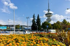 THESSALONIKI, GREECE - SEPTEMBER 30, 2017: OTE Tower and flowers in front in city of Thessaloniki, Greece Stock Images