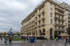 People walking at Aristotelous Square in the center of city of Thessaloniki, Central. THESSALONIKI, GREECE - SEPTEMBER 30, 2017: People  walking at Aristotelous Royalty Free Stock Photos