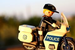 Thessaloniki, Greece - September 2 2018: Policeman on his motorcycle, playmobil figure. stock images