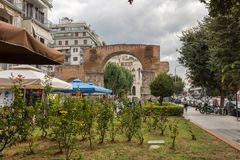 Roman Arch of Galerius in the center of city of Thessaloniki, Central Macedonia, Greece. THESSALONIKI, GREECE - SEPTEMBER 30, 2017: Roman Arch of Galerius in the stock photography