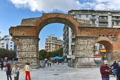 THESSALONIKI, GREECE - SEPTEMBER 30, 2017: Roman Arch of Galerius in the center of city of Thessaloniki, Central Macedonia. Greece royalty free stock photos