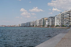 Thessaloniki, Greece - September 04 2016: The waterfront of Thessaloniki. View from the landmark of the city, the White Tower, up to the city port stock photography