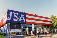 Thessaloniki, Greece USA Pavilion facade painted with flag colors inside 83rd International fair. royalty free stock photography