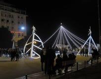 Thessaloniki Grekland - December 11 2016: Julpynt på centret Arkivfoton