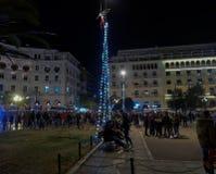 Thessaloniki Grekland - December 11 2016: Julpynt på centret Royaltyfria Foton