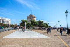 10 03 2018 Thessaloniki, Grekland - det vita tornet av Thessalonik Fotografering för Bildbyråer