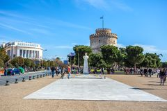 10 03 2018 Thessaloniki, Grekland - det vita tornet av Thessalonik Arkivbilder