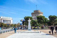 10 03 2018 Thessaloniki, Grekland - det vita tornet av Thessalonik Royaltyfri Bild