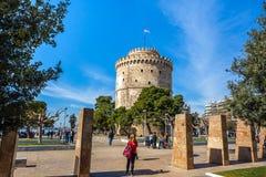 10 03 2018 Thessaloniki, Grekland - det vita tornet av Thessalonik Arkivbild