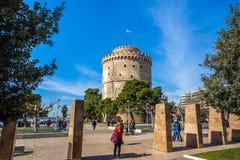 10 03 2018 Thessaloniki, Grekland - det vita tornet av Thessalonik Royaltyfri Foto