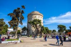 10 03 2018 Thessaloniki, Grekland - det vita tornet av Thessalonik Royaltyfri Fotografi
