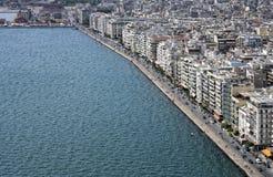 Thessaloniki Grekland, flyg- sikt av stranden fotografering för bildbyråer