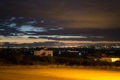 Thessaloniki Grekland nattstad fotografering för bildbyråer