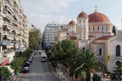 Thessaloniki Grekland - 24 Oktober 2016: Mitropoleos gatabussfil och taxi Arkivfoto