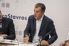 THESSALONIKI GREKLAND - SEPTEMBER 13, 2017 Grekisk ledare av polit Arkivfoto