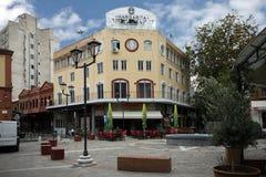 Thessaloniki Grekland - September 25, 2018: Ladadika område av Thessaloniki arkivfoto
