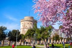 10 03 2018 Thessaloniki, Grekland - vitt torn av Thessaloniki in Royaltyfria Bilder