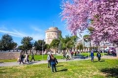 10 03 2018 Thessaloniki, Grekland - vitt torn av Thessaloniki in Royaltyfria Foton