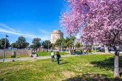10 03 2018 Thessaloniki, Grekland - vitt torn av Thessaloniki in Fotografering för Bildbyråer