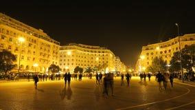 Thessaloniki, Griekenland bij nacht Royalty-vrije Stock Foto