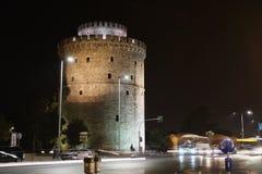 Thessaloniki, Griekenland de Witte tijdspanne van de Toren6k nacht stock videobeelden