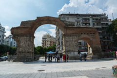 THESSALONIKI, GRIEKENLAND - MEI 25, 2017: De Boog van Galerius, beter - als Kamara, Thessaloniki, Griekenland wordt bekend dat Royalty-vrije Stock Foto