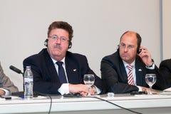 3de Vergadering van Grieks-Duitse aanwezigheid Hans Joachim Fuchtel Royalty-vrije Stock Foto's