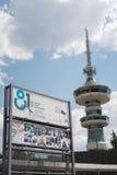 Thessaloniki, Griekenland - September 04 2016: het 81ste teken van de Internationale marktingang Stock Foto