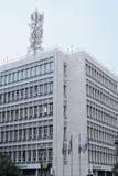 Thessaloniki, Griekenland - September 04 2016: OTE-Groepstelecommunicaties die Thessaloniki inbouwen Stock Afbeeldingen