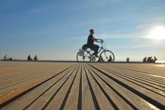 Thessaloniki Harbor Bicyclist royalty free stock photography