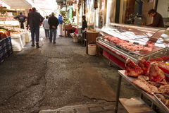 Thessaloniki loppmarknad Arkivbild