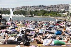 Thessaloniki open yoga day. People gathered to perform yoga trai Royalty Free Stock Photos