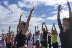 Thessaloniki open yoga day. People gathered to perform yoga trai Stock Photos