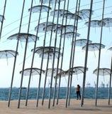 Thessaloniki paraplyer i aftonen Royaltyfri Fotografi