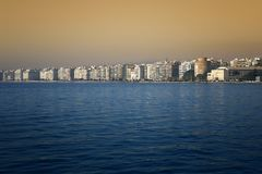 Thessaloniki - A beautiful view of the city`s waterfront Royalty Free Stock Photo