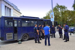 Thessaloniki policemen. Guarding street event instruction.September 20th 2014 Stock Photos