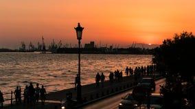 Thessaloniki Port at Dusk Time, Sunset Stock Photos