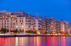 Thessaloniki quay at twilight, Greece. Skyline of Thessaloniki quayside at dusk. Greece Stock Photography
