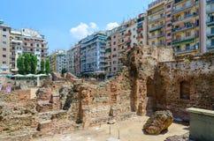 thessaloniki Scavi archeologici del palazzo di Roman Empe immagine stock