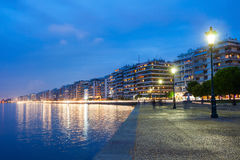 Thessaloniki seafront, Greece. Thessaloniki seafront promenade at night, Central Macedonia, Greece stock photo