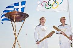 Thessaloniki stemt in met Olympische Toorts Royalty-vrije Stock Foto's