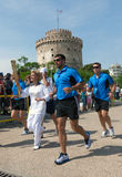 Thessaloniki welcomes Olympic Torch. THESSALONIKI, GREECE - MAY 13: The arrival of the Olympic torch in front of the White Tower. The Olympic flame will travel Royalty Free Stock Photography