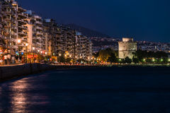 Thessaloniki White Tower by Night. Long Exposure royalty free stock photography