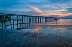 TheSunset view at a fishing jetty Royalty Free Stock Photo