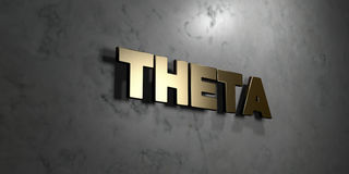 Theta - Gold sign mounted on glossy marble wall  - 3D rendered royalty free stock illustration Royalty Free Stock Photo