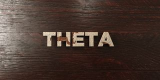 Theta - grungy wooden headline on Maple  - 3D rendered royalty free stock image Royalty Free Stock Image