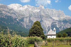 Theth, Prokletije mountains, Albania. Church in Theth village, Prokletije mountains, Albania Royalty Free Stock Images