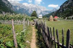 Theth village, Prokletije mountains, Albania. Theth village, Prokletije mountains in the Dinaric Alps, Albania Royalty Free Stock Image