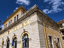 TheTtown Hall in Corfu town on the Island of Corfu. The city of Corfu stands on the broad part of a peninsula, whose termination in the Venetian citadel is cut Royalty Free Stock Image