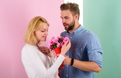 They Are As Beautiful As You Boyfriend Bring Bouquet Flowers To Surprise Her. Man Giving Beautiful Flower To Lovely Royalty Free Stock Photos